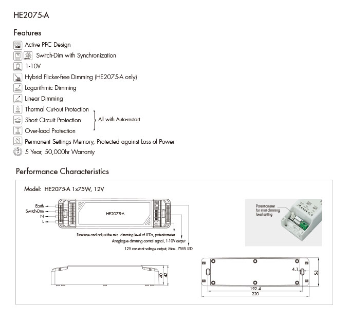 HE2075-A 12VDC Dimmable LED Driver_Hytronik on
